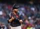 May 9, 2019; Phoenix, AZ, USA; Atlanta Braves catcher Brian McCann against the Arizona Diamondbacks at Chase Field. Mandatory Credit: Mark J. Rebilas-USA TODAY Sports