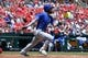 May 22, 2019; St. Louis, MO, USA; Kansas City Royals left fielder Alex Gordon (4) hits a single off of St. Louis Cardinals starting pitcher Michael Wacha (not pictured) during the second inning at Busch Stadium. Mandatory Credit: Jeff Curry-USA TODAY Sports