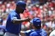 May 22, 2019; St. Louis, MO, USA; Kansas City Royals right fielder Jorge Soler (12) is congratulated by manager Ned Yost (3) after hitting a three run home run off of St. Louis Cardinals starting pitcher Michael Wacha (not pictured) during the third inning at Busch Stadium. Mandatory Credit: Jeff Curry-USA TODAY Sports