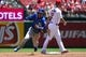May 22, 2019; St. Louis, MO, USA; Kansas City Royals second baseman Nicky Lopez (1) runs to third on a single by shortstop Adalberto Mondesi (not pictured) during the third inning against the St. Louis Cardinals at Busch Stadium. Mandatory Credit: Jeff Curry-USA TODAY Sports