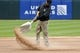 May 27, 2019; Chicago, IL, USA; A member of the the grounds crew prepares the field before the game between the Chicago White Sox and the Kansas City Royals at Guaranteed Rate Field. Mandatory Credit: David Banks-USA TODAY Sports