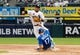 May 27, 2019; Chicago, IL, USA; Chicago White Sox second baseman Yolmer Sanchez (5) forces out Kansas City Royals third baseman Hunter Dozier (17) at second base and throws to first base to complete a double play during the second inning at Guaranteed Rate Field. Mandatory Credit: David Banks-USA TODAY Sports