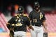 May 27, 2019; Cincinnati, OH, USA; Pittsburgh Pirates relief pitcher Felipe Vazquez (73) reacts with catcher Elias Diaz (32) after defeating the Cincinnati Reds at Great American Ball Park. Mandatory Credit: Aaron Doster-USA TODAY Sports