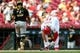 May 27, 2019; Cincinnati, OH, USA; Cincinnati Reds third baseman Nick Senzel (15) reacts to striking out to end the eighth inning against the Pittsburgh Pirates at Great American Ball Park. Mandatory Credit: Aaron Doster-USA TODAY Sports