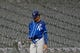 May 27, 2019; Chicago, IL, USA; Kansas City Royals shortstop Adalberto Mondesi (27) walks off the field during a rain delay during the fifth inning of a game against the Chicago White Sox at Guaranteed Rate Field. Mandatory Credit: David Banks-USA TODAY Sports