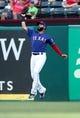 May 30, 2019; Arlington, TX, USA;  Texas Rangers right fielder Nomar Mazara (30) jumps to make a catch during the first inning against the Kansas City Royals at Globe Life Park in Arlington. Mandatory Credit: Kevin Jairaj-USA TODAY Sports