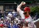 Jun 3, 2019; Chicago, IL, USA; Los Angeles Angels pitcher Cam Bedrosian (32) delivers against the Chicago Cubs in the first inning at Wrigley Field. Mandatory Credit: Matt Marton-USA TODAY Sports