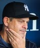 May 25, 2019; Kansas City, MO, USA; New York Yankees manager Aaron Boone (17) before the first game of a double header against the Kansas City Royals at Kauffman Stadium. Mandatory Credit: Jay Biggerstaff-USA TODAY Sports