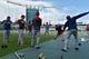 Jun 5, 2019; Kansas City, MO, USA; Boston Red Sox players warm up before a game against the Kansas City Royals at Kauffman Stadium. Mandatory Credit: Denny Medley-USA TODAY Sports