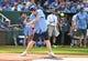 Jun 7, 2019; Kansas City, MO, USA; Modern Family actor Eric Stonestreet bats during the Big Slick celebrity softball game at Kauffman Stadium. Mandatory Credit: Denny Medley-USA TODAY Sports