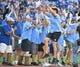 Jun 7, 2019; Kansas City, MO, USA; Kansas City Chiefs quarterback Patrick Mahomes celebrates with the blue team after hitting a home run during the Big Slick celebrity softball game at Kauffman Stadium. Mandatory Credit: Denny Medley-USA TODAY Sports