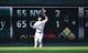Jun 7, 2019; Kansas City, MO, USA; Kansas City Royals left fielder Alex Gordon (4) fields a long fly ball in the first inning against the Chicago White Sox at Kauffman Stadium. Mandatory Credit: Denny Medley-USA TODAY Sports