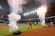 """Jun 9, 2019; Houston, TX, USA; Houston Astros mascot \""""Orbit\"""" celebrates his birthday with other mascots before the Astros played against the Baltimore Orioles at Minute Maid Park. Mandatory Credit: Thomas B. Shea-USA TODAY Sports"""