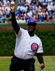 Jun 3, 2019; Chicago, IL, USA; Hon. P. Scott Neville, Illinois Supreme Court Justice, throws out a ceremonial first pitch before the game between the Chicago Cubs and the Los Angeles Angels at Wrigley Field. Mandatory Credit: Matt Marton-USA TODAY Sports