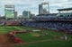 Jun 13, 2019; Omaha, NE, USA; The eight teams participating in the College World Series participate in a ceremonial first pitch before the game between the Kansas City Royals and the Detroit Tigers at TD Ameritrade Park Omaha. Mandatory Credit: Steven Branscombe-USA TODAY Sports