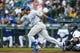 Jun 17, 2019; Seattle, WA, USA; Kansas City Royals right fielder Jorge Bonifacio (38) hits an RBI-single against the Seattle Mariners during the first inning at T-Mobile Park. Mandatory Credit: Joe Nicholson-USA TODAY Sports
