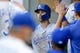 Jun 17, 2019; Seattle, WA, USA; Kansas City Royals first baseman Whit Merrifield (15) is greeted in the dugout after scoring a run against the Seattle Mariners during the first inning at T-Mobile Park. Mandatory Credit: Joe Nicholson-USA TODAY Sports