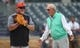 Jun 18, 2019; Pittsburgh, PA, USA;  Detroit Tigers manager Ron Gardenhire (left) talks with Tigers special assistant Jim Leyland (right) before the Tigers play the Pittsburgh Pirates at PNC Park. Mandatory Credit: Charles LeClaire-USA TODAY Sports