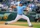 Jun 9, 2019; Kansas City, MO, USA; Kansas City Royals starting pitcher Glenn Sparkman (57) pitches against the Chicago White Sox at Kauffman Stadium. Mandatory Credit: Jay Biggerstaff-USA TODAY Sports