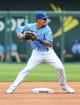 Jun 9, 2019; Kansas City, MO, USA; Kansas City Royals second baseman Nicky Lopez (1) throws to first base against the Chicago White Sox at Kauffman Stadium. Mandatory Credit: Jay Biggerstaff-USA TODAY Sports
