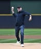 Jun 23, 2019; Milwaukee, WI, USA; Milwaukee Brewers former pitcher Jerry Augustine throws out a pitch before the start of the Milwaukee Brewers and Cincinnati Reds game at Miller Park. Mandatory Credit: Michael McLoone-USA TODAY Sports