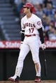 Jun 26, 2019; Anaheim, CA, USA; Los Angeles Angels designated hitter Shohei Ohtani (17) reacts after a strike during the sixth inning against the Cincinnati Reds at Angel Stadium of Anaheim. Mandatory Credit: Kelvin Kuo-USA TODAY Sports