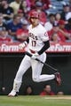 Jun 26, 2019; Anaheim, CA, USA; Los Angeles Angels designated hitter Shohei Ohtani (17) runs behind home plate after being walked during the sixth inning against the Cincinnati Reds at Angel Stadium of Anaheim. Mandatory Credit: Kelvin Kuo-USA TODAY Sports
