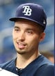 Jun 28, 2019; St. Petersburg, FL, USA; Tampa Bay Rays starting pitcher Blake Snell (4) prior to the game against the Texas Rangers at Tropicana Field. Mandatory Credit: Kim Klement-USA TODAY Sports