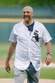 Jul 3, 2019; Chicago, IL, USA; Chicago Bears head coach Matt Nagy reacts after throwing out a ceremonial first pitch before the game between the Chicago White Sox and the Detroit Tigers in game two of a baseball doubleheader at Guaranteed Rate Field. Mandatory Credit: Jon Durr-USA TODAY Sports