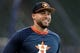Jul 5, 2019; Houston, TX, USA; Houston Astros center fielder George Springer (4) prior to the game against the Los Angeles Angels at Minute Maid Park. Mandatory Credit: Erik Williams-USA TODAY Sports