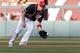 Jul 5, 2019; Washington, DC, USA; Washington Nationals first baseman Ryan Zimmerman (11) fields a ground ball hit by Kansas City Royals second baseman Adalberto Mondesi (not pictured) in the first inning at Nationals Park. Mandatory Credit: Geoff Burke-USA TODAY Sports