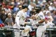 Jul 5, 2019; Seattle, WA, USA; Oakland Athletics second baseman Franklin Barreto, right, is greeted by third baseman Matt Chapman, left, after hitting a solo home run against the Seattle Mariners during the third inning at T-Mobile Park. Mandatory Credit: Joe Nicholson-USA TODAY Sports