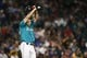 Jul 5, 2019; Seattle, WA, USA; Seattle Mariners starting pitcher Yusei Kikuchi (18) reacts after surrendering an un-earned run against the Oakland Athletics during the seventh inning at T-Mobile Park. Mandatory Credit: Joe Nicholson-USA TODAY Sports