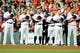 Jul 5, 2019; Houston, TX, USA; Members of the Houston Astros stand during the national anthem prior to the game against the Los Angeles Angels at Minute Maid Park. Mandatory Credit: Erik Williams-USA TODAY Sports