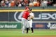Jul 5, 2019; Houston, TX, USA; Los Angeles Angels right fielder Kole Calhoun (56) greets Houston Astros second baseman Jose Altuve (27) prior to the game at Minute Maid Park. Mandatory Credit: Erik Williams-USA TODAY Sports