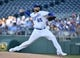 Jul 15, 2019; Kansas City, MO, USA; Kansas City Royals starting pitcher Jakob Junis (65) delivers a pitch against the Chicago White Sox in the first inning at Kauffman Stadium. Mandatory Credit: Denny Medley-USA TODAY Sports