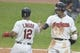 Jul 16, 2019; Cleveland, OH, USA; Cleveland Indians center fielder Oscar Mercado (35) celebrates with shortstop Francisco Lindor (12) after hitting a two run home run in the second inning against the Detroit Tigers at Progressive Field. Mandatory Credit: David Richard-USA TODAY Sports
