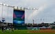 Jul 25, 2019; Kansas City, MO, USA; A partial rainbow appears past the scoreboard as the Cleveland Indians warm up before the game against the Kansas City Royals at Kauffman Stadium. Mandatory Credit: Denny Medley-USA TODAY Sports