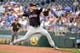 Jul 25, 2019; Kansas City, MO, USA; Cleveland Indians starting pitcher Adam Plutko (45) delivers a pitch in the first inning against the Kansas City Royals at Kauffman Stadium. Mandatory Credit: Denny Medley-USA TODAY Sports