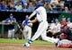 Jul 25, 2019; Kansas City, MO, USA; Kansas City Royals right fielder Bubba Starling (11) hits a single in the sixth inning against the Cleveland Indians at Kauffman Stadium. Mandatory Credit: Denny Medley-USA TODAY Sports