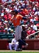 Jul 28, 2019; St. Louis, MO, USA; Houston Astros center fielder George Springer (4) hits a solo home run off of St. Louis Cardinals starting pitcher Dakota Hudson (not pictured) during the first inning at Busch Stadium. Mandatory Credit: Jeff Curry-USA TODAY Sports