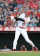 July 30, 2019; Anaheim, CA, USA; Los Angeles Angels designated hitter Shohei Ohtani (17) hits a single against the Detroit Tigers during the first inning at Angel Stadium of Anaheim. Mandatory Credit: Gary A. Vasquez-USA TODAY Sports