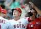 July 30, 2019; Anaheim, CA, USA; Los Angeles Angels first baseman Matt Thaiss (23) is greeted after hitting a two run home run against the Detroit Tigers during the second inning at Angel Stadium of Anaheim. Mandatory Credit: Gary A. Vasquez-USA TODAY Sports