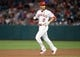 July 30, 2019; Anaheim, CA, USA; Los Angeles Angels shortstop Andrelton Simmons (2) reaches second on an RBI double against the Detroit Tigers during the fifth inning at Angel Stadium of Anaheim. Mandatory Credit: Gary A. Vasquez-USA TODAY Sports