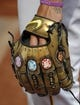Aug 5, 2019; Pittsburgh, PA, USA;  Detail view of the glove of Pittsburgh Pirates  pitcher Joe Musgrove (59) which was  recently painted by artist Cody Sabol in the style of the Marvel's Avengers: End Game Infinity Wars movie before the game against the Milwaukee Brewers at PNC Park. Mandatory Credit: Charles LeClaire-USA TODAY Sports