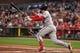 Aug 5, 2019; San Francisco, CA, USA; Washington Nationals third baseman Anthony Rendon (6) hits an RBI single against the San Francisco Giants in the third inning at Oracle Park. Mandatory Credit: Cody Glenn-USA TODAY Sports