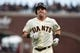 Aug 5, 2019; San Francisco, CA, USA; San Francisco Giants second baseman Scooter Gennett (14) after bunting out against the Washington Nationals in the second inning at Oracle Park. Mandatory Credit: Cody Glenn-USA TODAY Sports