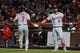 Aug 5, 2019; San Francisco, CA, USA; Washington Nationals shortstop Trea Turner (7) celebrates with teammate Brian Dozier (9) after scoring a run on a balk by San Francisco Giants relief pitcher Sam Coonrod, not pictured, in the fifth inning at Oracle Park. Mandatory Credit: Cody Glenn-USA TODAY Sports