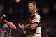 Aug 5, 2019; San Francisco, CA, USA; San Francisco Giants catcher Buster Posey (28) during the game against the Washington Nationals at Oracle Park. Mandatory Credit: Cody Glenn-USA TODAY Sports