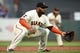 Aug 5, 2019; San Francisco, CA, USA; San Francisco Giants third baseman Pablo Sandoval (48) in a defensive stance during the game against the Washington Nationals at Oracle Park. Mandatory Credit: Cody Glenn-USA TODAY Sports